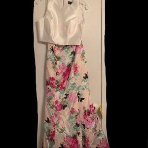 M/White/Multi Two-Piece Prom Dress